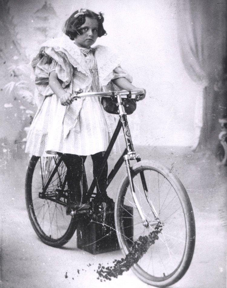 Virginia O'Hanlon with her Christmas bike from Santa Claus!