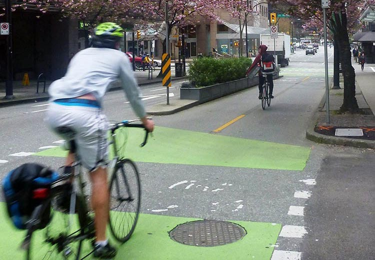 Top 10 tips for bike commuting. Ride safely and follow the rules of the road. If you can find a separated bike lane, use it! Read about the unexpected benefits of separate bike lanes here