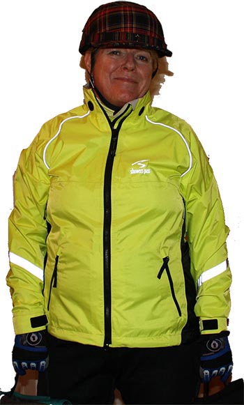 Maggie models her Showers Pass waterproof cycling jacket