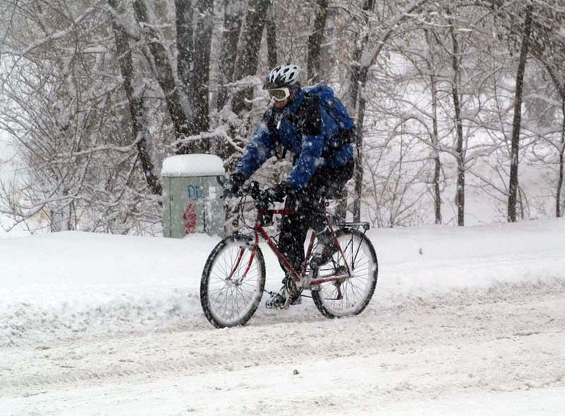 I was NOT planning on snow .... just keep pedaling ... foul weather cyclists
