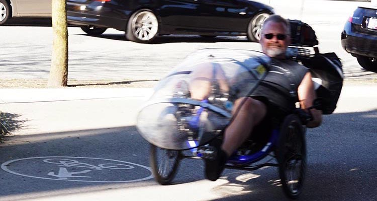 If you have back problems, a recumbent might be the way to go. This man has been commuting on his recumbent bike every day for many years.