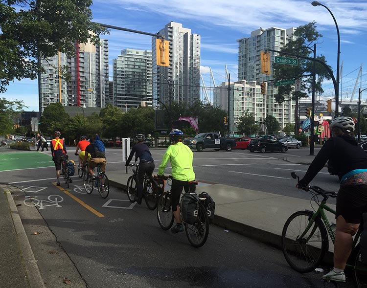 Join the thousands of bike commuters on Dunsmuir Street - as long as you are comfortable cycling in packs!