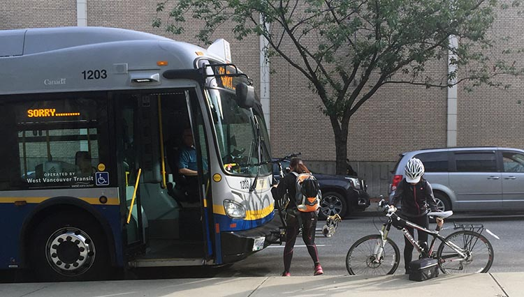 Note that In Vancouver you can load your bikes onto most buses - as long as there is space. You can also take them on sky trains, but not at peak times
