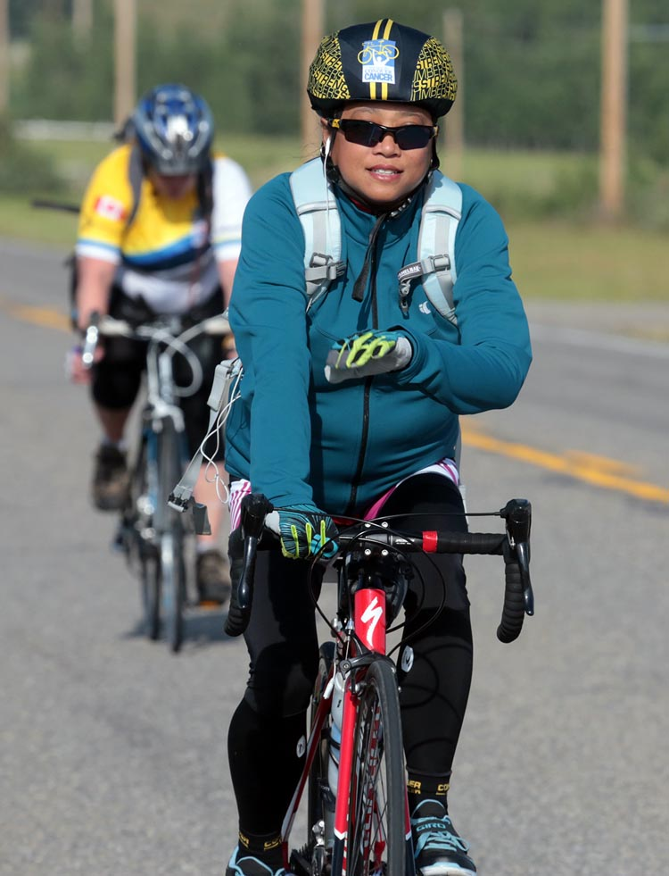 Michelle says the fund-raising is a lot easier than the riding in the Ride to Conquer Cancer