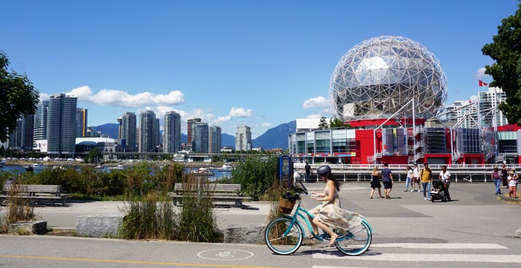 You can bike right past the iconic World of Science - or, you might want to park your bikes at the whimsical bike art outside Science World, and go in to check out the endlessly entertaining science exhibits, or perhaps see a movie in the spectacular Omnimax