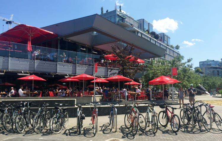 Park your bike outside the Tap and Barrel on the Seaside Bike Route in Olympic Village and take a break!