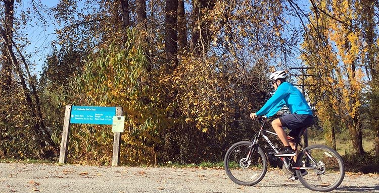 The Traboulay PoCo Trail offers many happy changes and surprises, as the terrain switches from good gravel track, to very infrequent roadside shoulder, to tree-canopied single track, then to meandering, multi-user paved trail