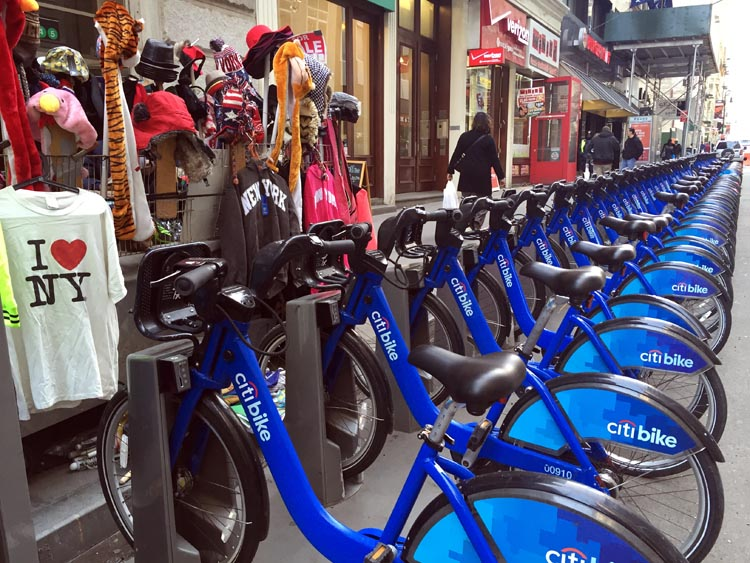 We did see a few full Citi Bike racks in the more touristy areas, but we learned that these racks are constantly restocked