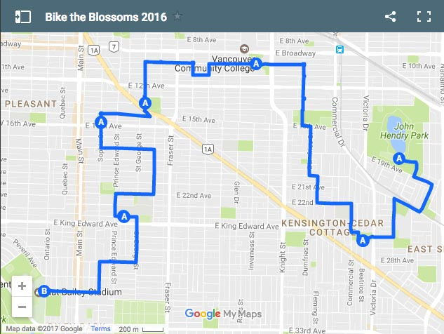 Map of the 2016 Bike the Blossoms ride