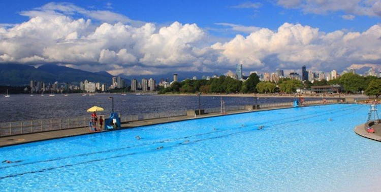 This photo of Kits Pool is from a web site where you can find a B & B within walking distance of this pool! cycling vacation in Vancouver
