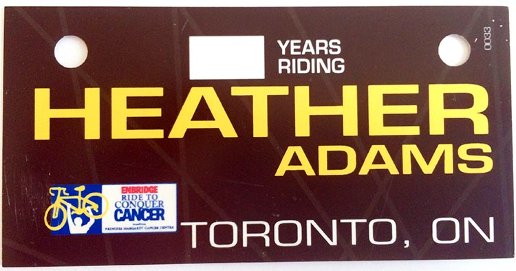 Heather Adams' Ride Name Plate - click to support Heather!