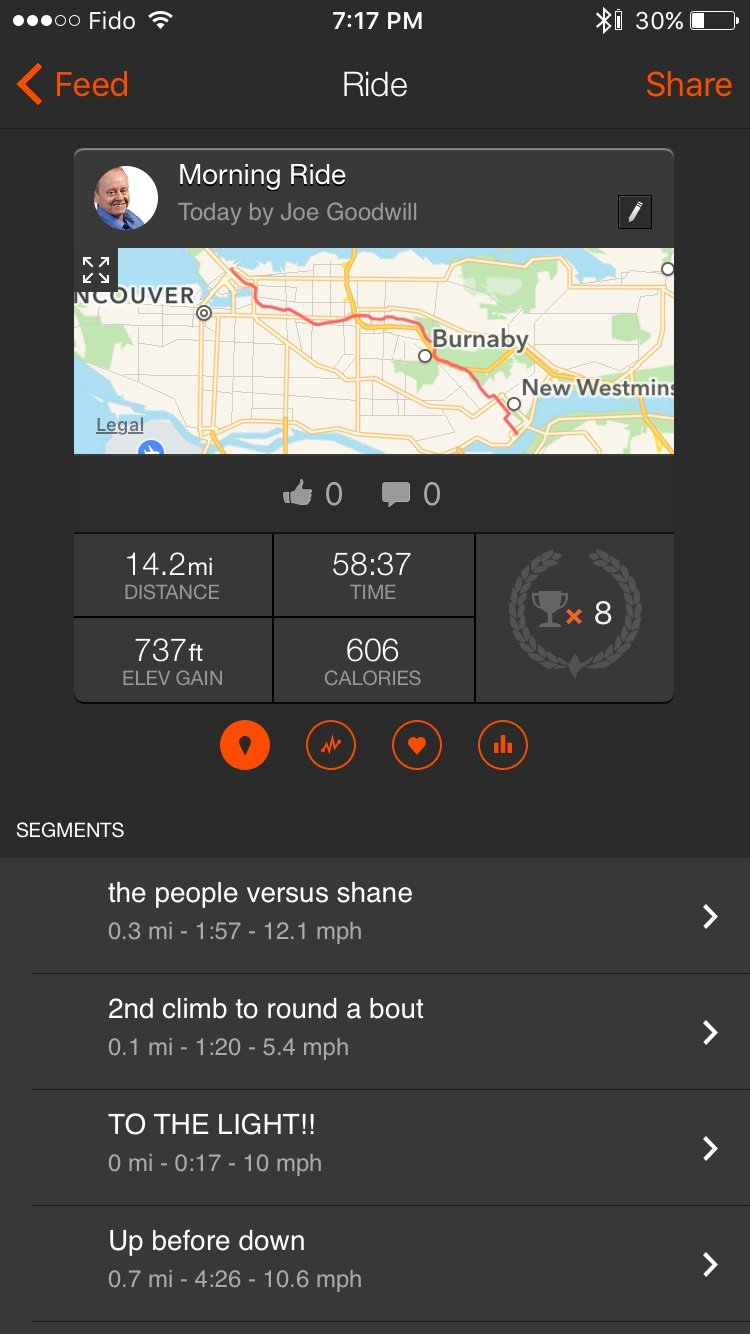 You can use the Strava app on your phone to review stats on completed rides. How to Use Strava for Cycling