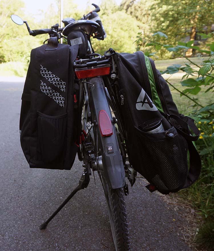 This photo shows the Convertible on the left, and the Arkel Bug on the right. I really like the Bug, but the Two Wheel Gear Convertible is my new go-to pannier! Two Wheel Gear Pannier Backpack Convertible Review