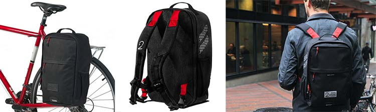 Two Wheel Gear Pannier Backpack in three phases - on the bike, on its own, and on a back