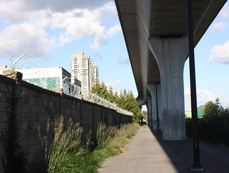 Some of the best parts of the Central Valley Greenway run under the skytrain line.