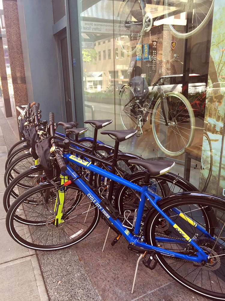 City Cycle bikes for rent on Hornby Street - right on the separated bike route!