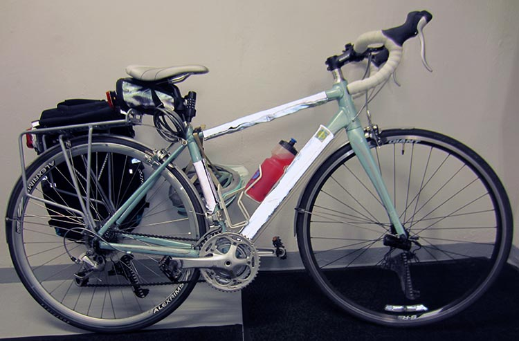 Here's my Giant Avail, dressed in her winter Bike Wrappers (for visibility in the dark)