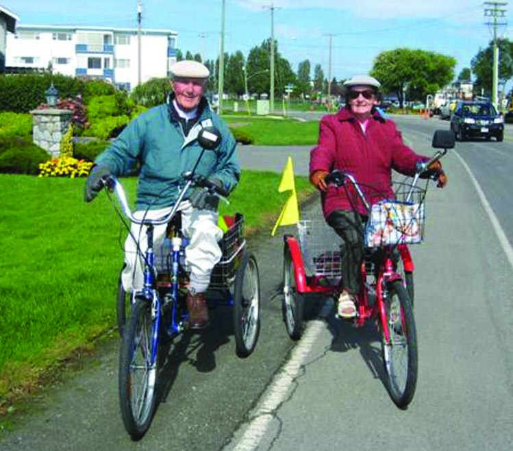 Marg and Dennis on the Lochside Trail Vancouver Island - safe bike routes