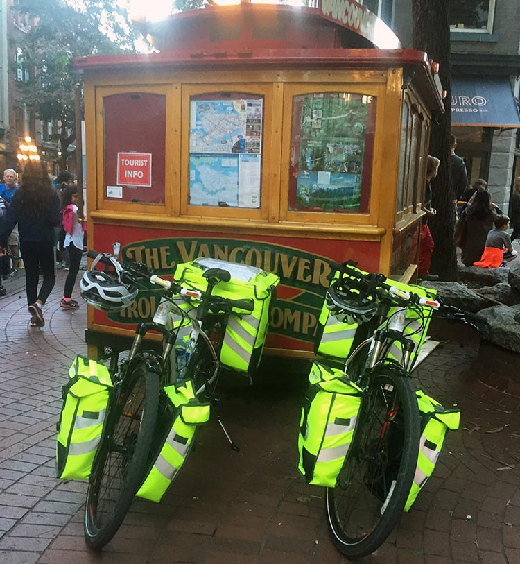 BC Ambulance paramedics were at the Gastown Grand Prix on their bikes. Here are their bikes parked next to the Vancouver Trolley. BC Superweek 2017
