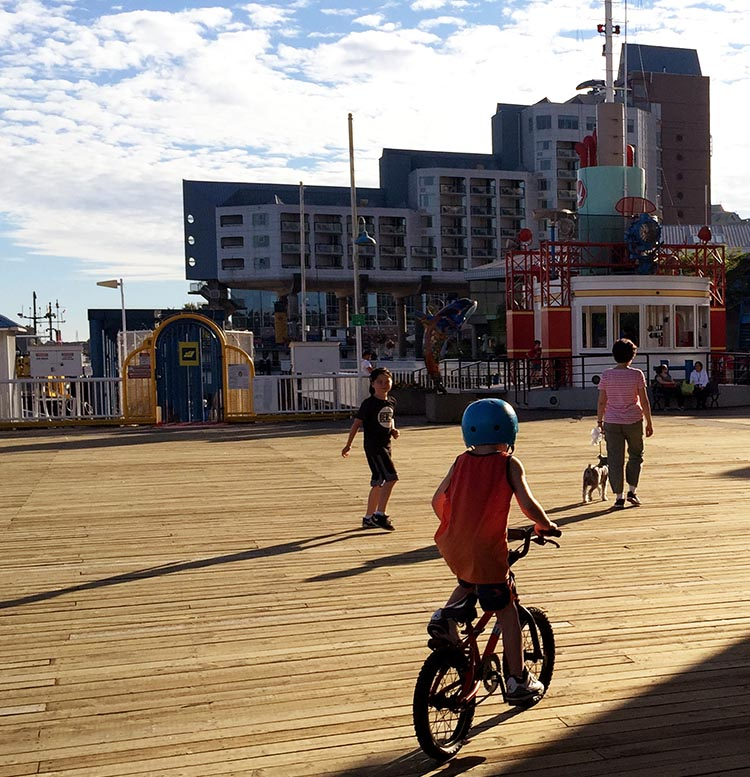The New Westminster Quay provides the opportunity for kids to cycle safely, and for all to enjoy the fun experience of cycling on a boardwalk! New Westminster cycling