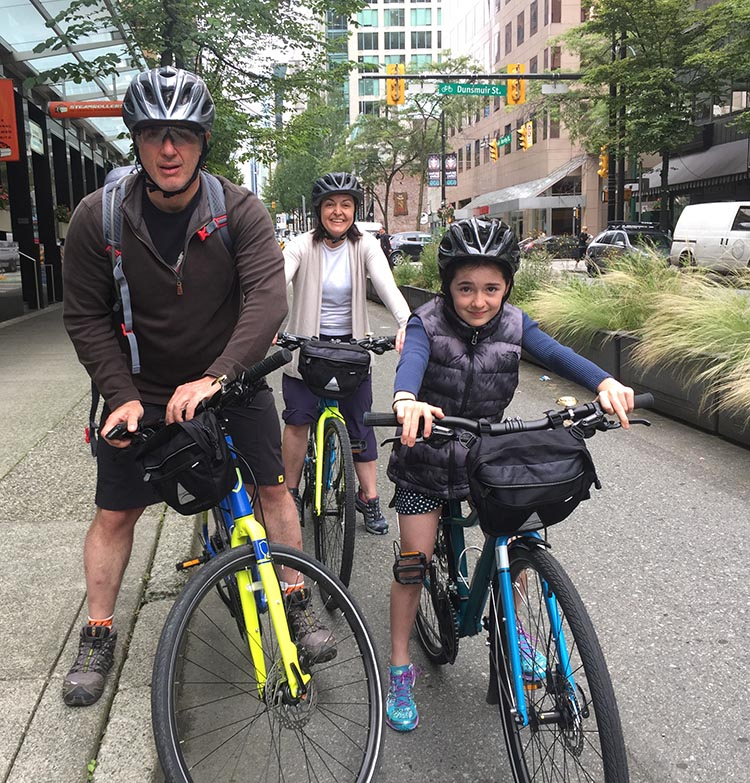 Bike Rentals Vancouver – Where to Rent Bikes in Vancouver. Here's a family from Brazil, on rented bikes. I met them as they set out on Vancouver's separated bike lane on Hornby Street