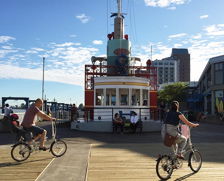 Apart from cycling and walking, there are also many other activities for kids on the New Westminster Quay. There is a display tug left over from Expo 86, that is now used as a play and exploration area. New Westminster cycling
