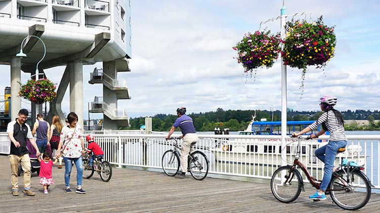 You can rent bikes for the whole family on New Westminster Quay! New Westminster cycling