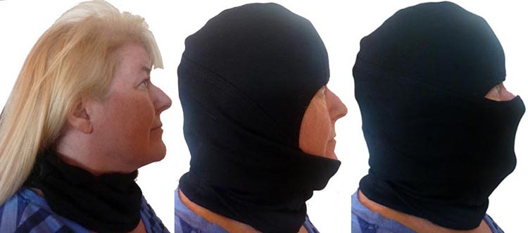 Many cycling balaclavas are stretchy enough to wear in three positions: just around the neck; below the chin; and full face