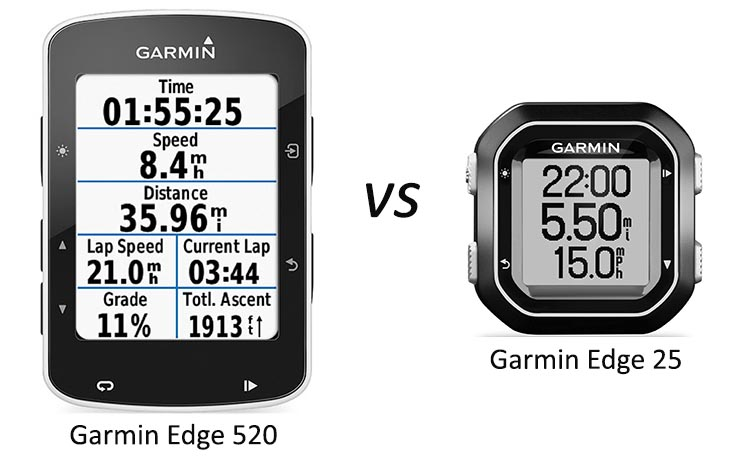 Garmin Edge 520 vs 25 Bike Computers. The Garmin Edge 520 vs 25: superficially they look very different, but the tiny Edge 25 offers a surprising number of features