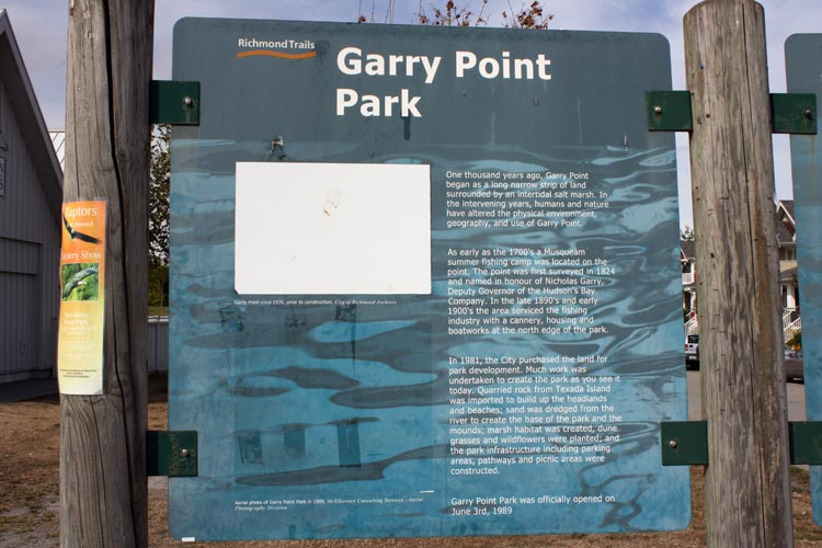 Garry Point Park is a great place to take a break on your ride along the West Dyke Trail. The West Dyke Trail in Richmond, BC, Canada