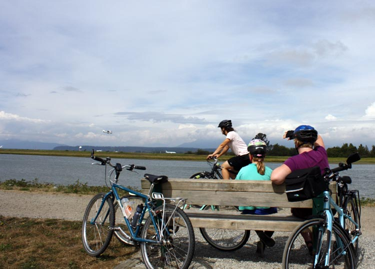 You can enjoy great views of the Fraser River from the West Dyke Trail. The West Dyke Trail in Richmond, BC, Canada