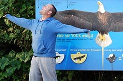 Jim Evans checks his wing span!
