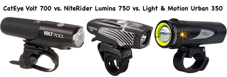 3 of the best bike lights for commuters - CatEye Volt 700 vs. Light & Motion Urban 350 vs. NiteRider Lumina 750