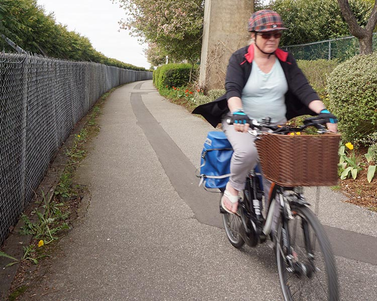 Maggie loves her upright bike, and the fact that it is step through, so she can ride it while wearing a skirt. 10 tips for bike commuting