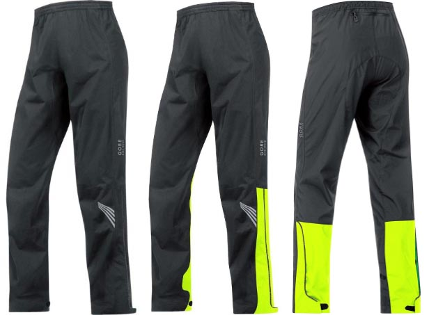 Best Waterproof cycling gear. Gore Bike Wear Element Gore-Tex Active Pants with and without the yellow strip.