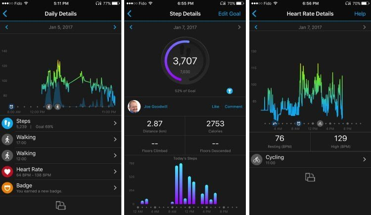 The Garmin Connect app has a superb interface, offering you access on your phone to a huge amount of information: really comprehensive records of activity and calorie expenditure; heart rate; steps taken; activities done; and hours slept. The Movement IQ on the Garmin Vivoactive HR can detect when you are walking or cycling, even when you don't tell it