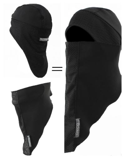 The Weatherneck System Balaclava is a two-piece garment, comprising a Mullet Hat and a Weatherneck face mask. The two pieces magnetize together to function as the Weatherneck System