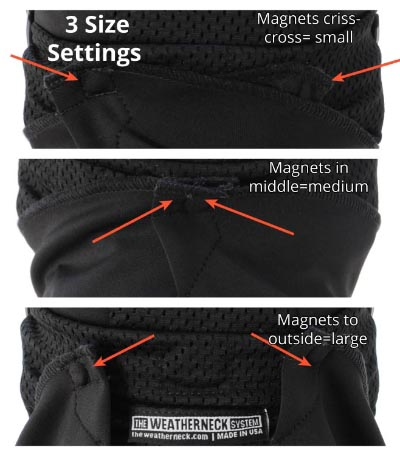 The Weatherneck System Balaclava has three metal pieces to allow for different size heads
