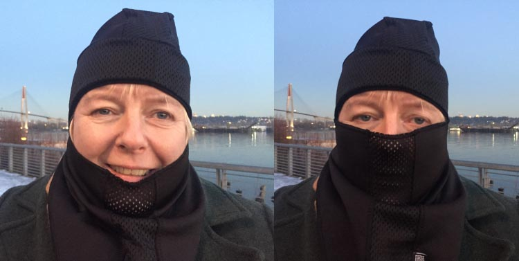 Mrs. Average Joe Cyclist took an immediate liking to the Weatherneck System Balaclava. On the left, she is wearing the face mask as just a neck warmer