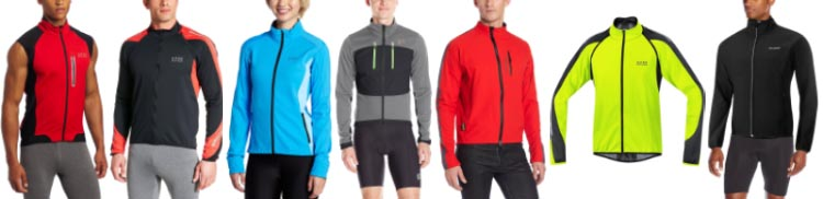 7 best softshell cycling jackets, in order of selection - from left to right: the Gore Bike Wear Men's Alp-X 2.0 Gore Bike Wear Soft Shell Jacket; the Gore Bike Wear Phantom 2.0 WINDSTOPPER Soft Shell Jacket; the Gore Bike Wear Women's Alp-X Windstopper Soft Shell Jacket; the Pearl Izumi Ride Elite Escape Softshell Jacket; the Showers Pass Skyline Softshell Jacket; the ARSUXEO Winter Warm Up Thermal Softshell Cycling Jacket; and the Baleaf Windproof Thermal Softshell Cycling Jacket