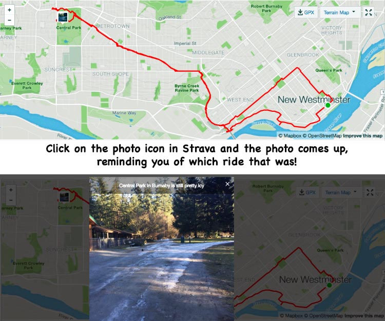 For this ride below, I uploaded a photo to my Strava record of the ride. When you click on the ride, you first just see a map of the ride with a tiny photo icon. But if you click on the photo icon, the photo comes up, reminding you of which ride that was!