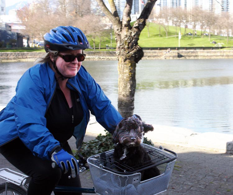 Ontario Cypress bike trails in Vancouver 4 - Maggie and Billy - pet bike basket