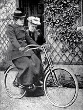 How the Bicycle Became a Symbol for Women's Emancipation. 19th century suffragist Frances Willard (1839-1898), learning to ride a bicycle in New York city. Cycling into the future!
