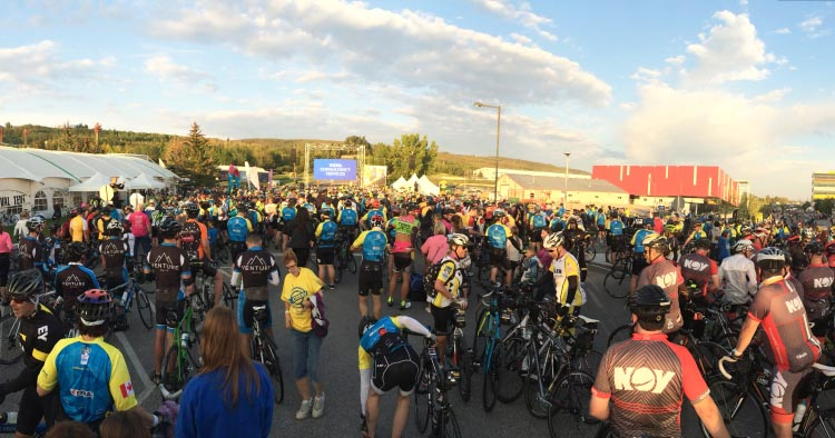 The excitement and camaraderie build as cyclists gather for the start of the big event - the Ride to Conquer Cancer!