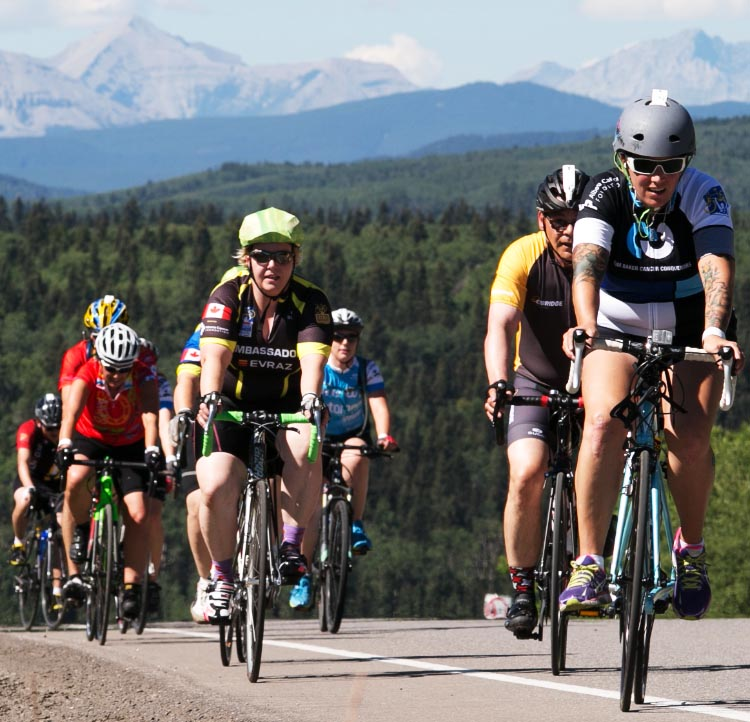Being part of a massive group helps in getting up the rolling hills of Alberta in the Enbridge Ride to Conquer Cancer