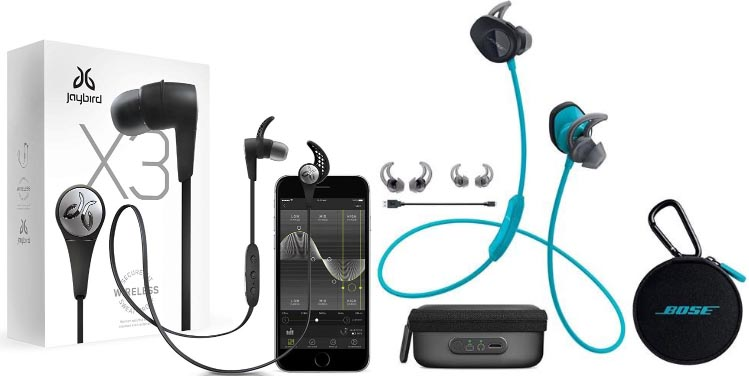 Jaybird X3 complete package on the left; Bose Soundsports 2 complete package plus charger on the right. The Jaybird X3 shows a phone because they are highlighting the Mysound app (which you can use to finetune the sound) - of course, you have to buy a phone separately. Bose SoundSport Wireless Headphones vs Jaybird X3 Sport Headphones