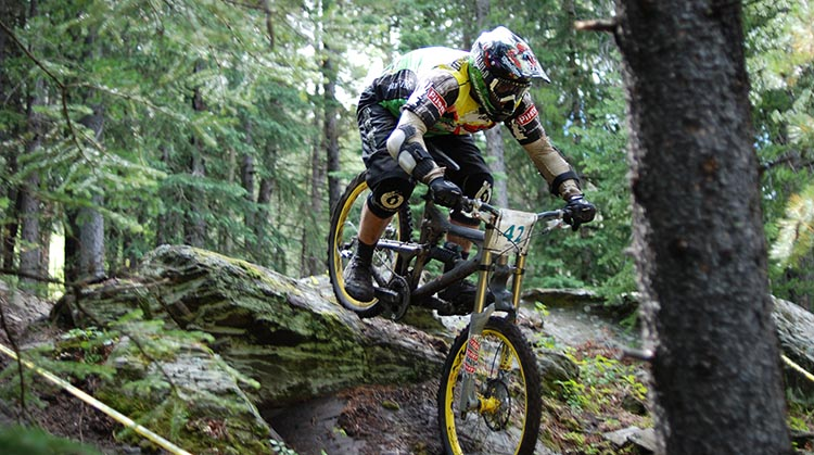 It is crucial to maintain the correct riding posture. Notice how this mountain cyclist has a good bend in his elbows and his knees. 7 Tips to Become a Mountain Biker