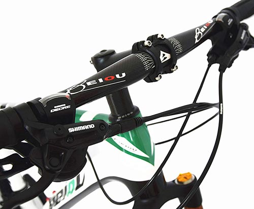 The BEIOU Carbon Fiber Mountain Bike has the same high quality components you find on much more expensive bikes