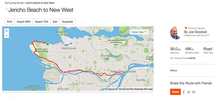 Here is a custom bike route that I made within a few minutes on Strava