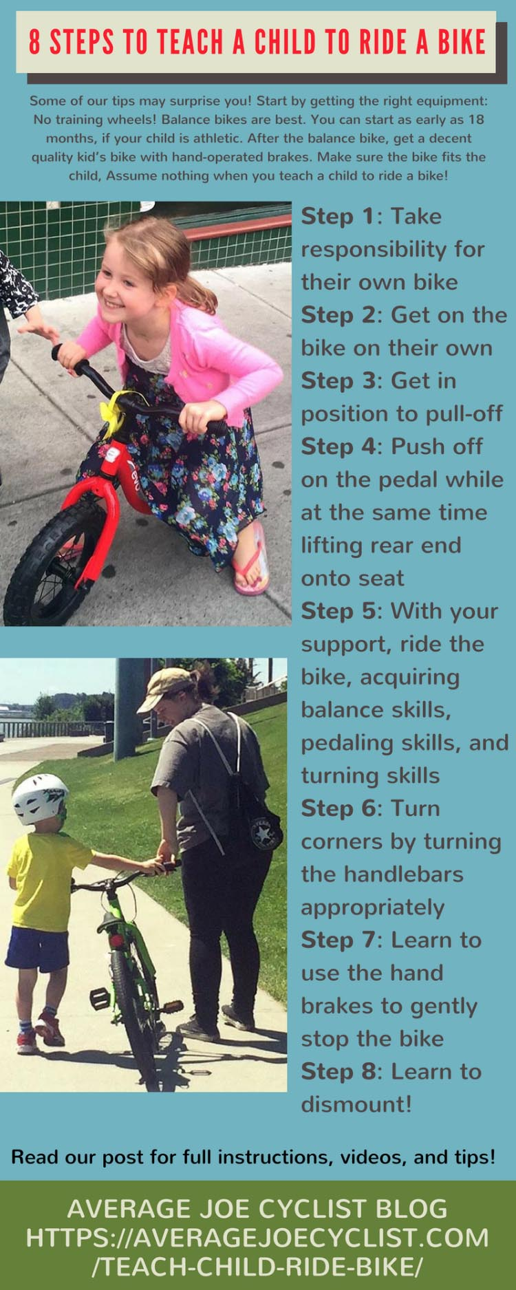 How to teach a child to ride a bicycle: advice to parents